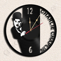 Charlie Chaplin Vinyl Record Clock Upcycled Gift Idea
