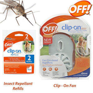 OFF! Clip-on Mosquito Repellent Fan Starter Circulating Kit-& 1 Refill Pk--NEW