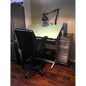Drafting Table with Parallel Bar, Borco Cover, Chair and Lamp