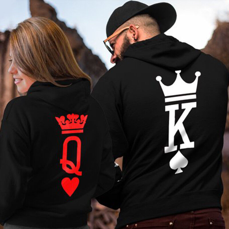 Lover Couple King And Queen Long Sleeve Hoodie Jumper Sweater Tops Pullover Coat