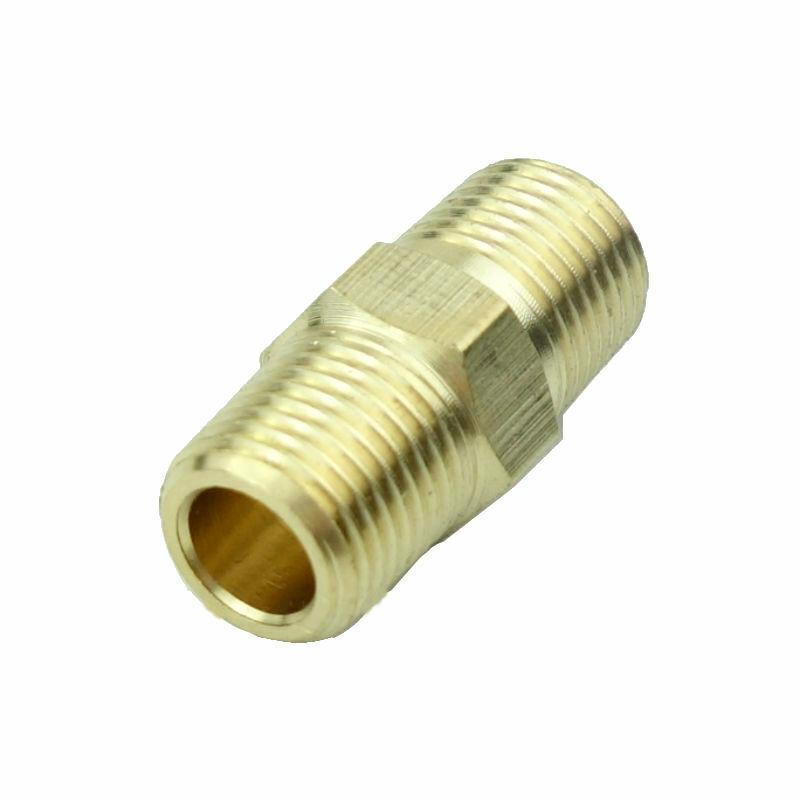 "5pcs Brass Pipe Fitting Hex Nipple 1/4"" MIP(Male NPT) Fuel Oil Gas Water"
