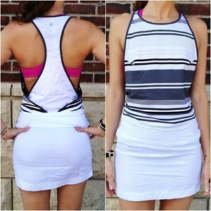 LULULEMON RARE BLISSED OUT DRESS for layering BNWT White Gray 6