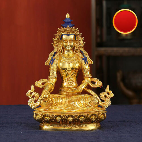 6 Tibetan Brass Gilt Coloured Painting Buddhism Ksitigarbha Buddha Statue Ebay