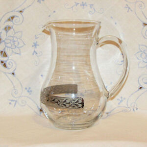 ELEGANT LARGE GLASS WATER PITCHER WITH SILVER BAND GLASSWARE
