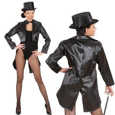 SATIN FRACK Damen Kostüm Showgirl Karneval Fasching Show Tänzerin Theater (Show Tänzerin Kostüm)