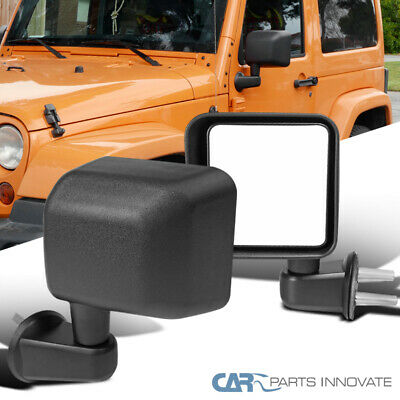 For Jeep 07-18 Wrangler JK Black Manual Side View Mirrors Brackets -