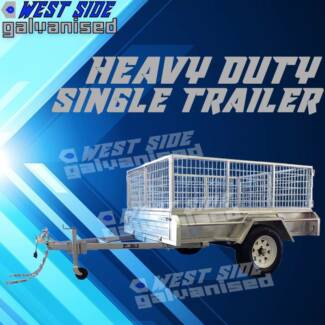 ◀7x5 HOT-DIPPED-GAVLANISED 600MM-Cage heavy-duty trailer◀