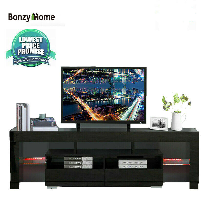 High Gloss TV Cabinet Stand Modern Entertainment Unit Console w/ LED Light 63