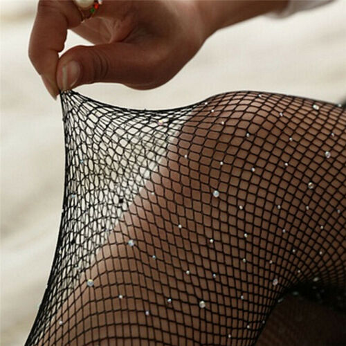 Women Crystal Rhinestone Fishnet Net Mesh Socks Stockings Tights Pantyhose KWCA