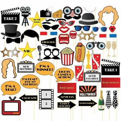 Games For Birthday Parties (60-Pack Hollywood Movie Night Party Photo Booth Props Selfie for Birthday)