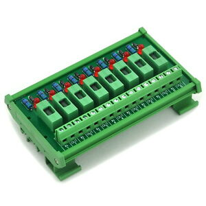 8 Channel Fuse Interface Module,for 100~250VAC, Din Rail Mount,w/ Fail Indicator