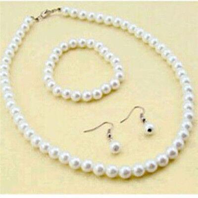 Frauen 1x Natürliche Süßwasser Perlenkette Armband Ohrringe Set Chic SchmucK DE