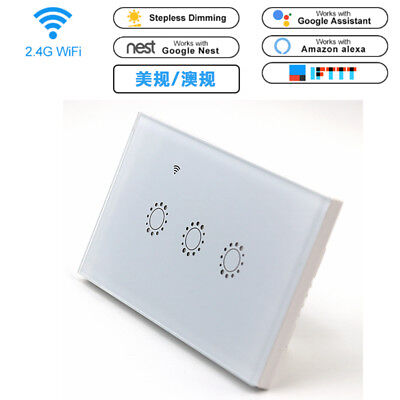 3 Gang Smart WiFi Wall Touch Light Switch APP Control For Amazon Alexa Google (Touch Wall Control)