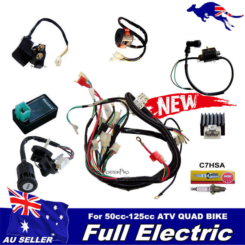 ELECTRIC WIRING HARNESS CDI COIL ASSEMBLY FOR 50-110CC 125CC ATV QUAD BUGGY Kit