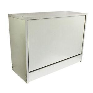 Off white sturdy box shoe cabinet rack organiser storage shelving furniture 59cm ebay - Shoe box storage shelves ...