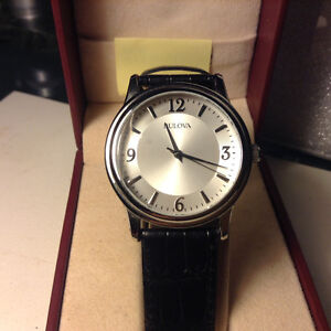Bulova Silver Dial Stainless Steel Leather Quartz Men's Watch 96