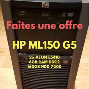 **Faites une offre** Serveur HP ML150 G5 2x XEON E5410 + 8GB RAM