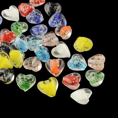 10 Luminous Lampwork Heart Beads Mixed Colour  15mm (BOX58)