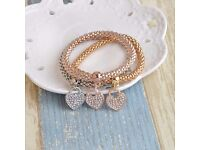 3Pcs Gold plated Filled Charm Bracelets For Women