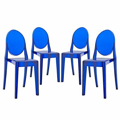 Contemporary Dining Armchairs in Blue Set of 2