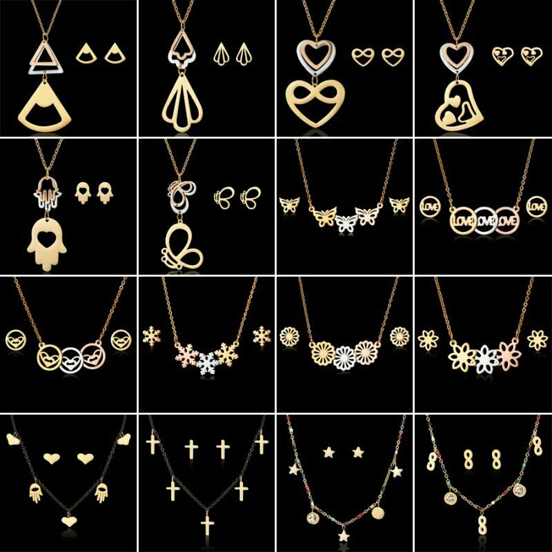 Fashion Gold Stainless Steel Jewelry Sets Pendant Necklace Earrings Women Gift