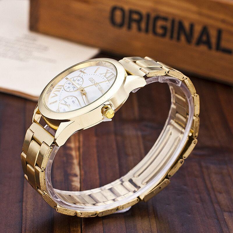 Luxury Geneva Ladies Women Girl Unisex Gold Stainless Steel Quartz Wrist Watch