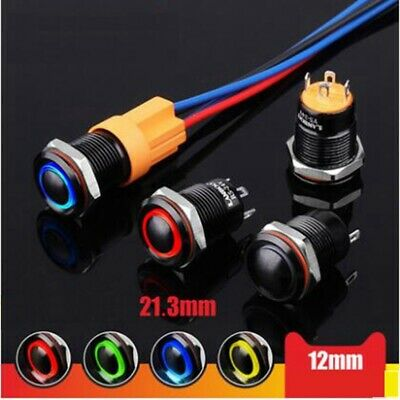 Black Shell Color Head 12mm Waterproof Mini Button Switch With Lamp 12v 24v 220v