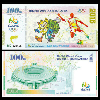 Brazil Rio Olympic Games Fancy Test Note, 2016, UNC