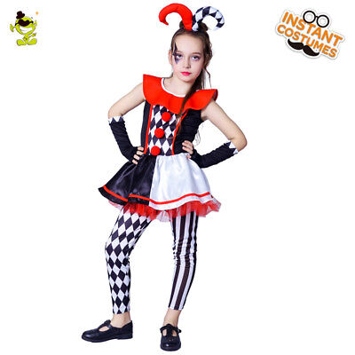 New Evil Jester Cool Girls Costumes Role Cosplay Fancy Dress for Carnival Party