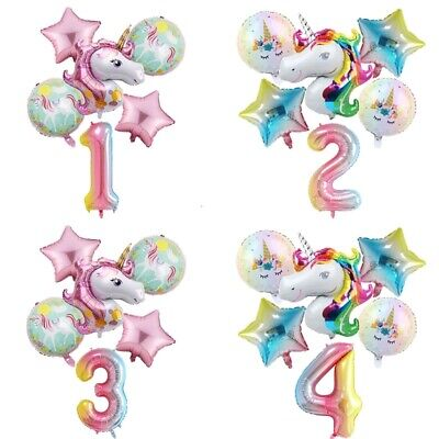6pc Rainbow Unicorn Balloon 32