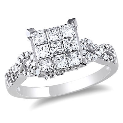 Amour 1 CT TW Princess Cut Diamond Engagement Ring in 10k White -