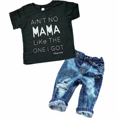 2Pcs Kids Baby Boys Girls Clothes T-shirt Tee Top + Denim Jeans Pants Outfits US