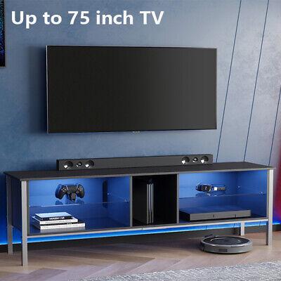 "TV Stand Unit Cabinet w/ LED Light Shelf Furniture Entertainment Center for 75"""