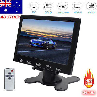 7 Inch HD LED Touch Button Screen Display AV/VGA/HDMI Security Monitor w/Speaker