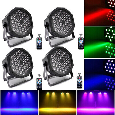 4x RGB LED Stage Lights Par Can Flat DJ Disco Bar Beam Uplighter DMX512 Lighting