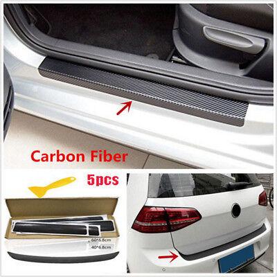 5Pc 3D Carbon Fiber Look Car Door Pedal Tail Lip Protector Anti Scratch Stickers