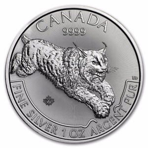 Canada $5 1oz Lynx Predator Series Pure Silver Maple Leaf Bullio