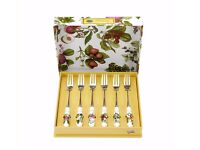 Brand new Pomona Set of 6 Pastry Forks (Assorted Motifs) by Portmeirion