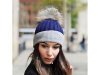 DAYMISFURRY--Grey And Blue Wool Beanie Hat With Raccoon Fur Single Pom Pom