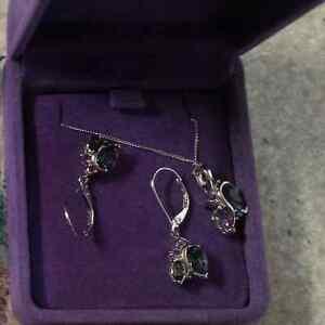 Neptune Garden Topaz & Amethyst Earrings & Pendent