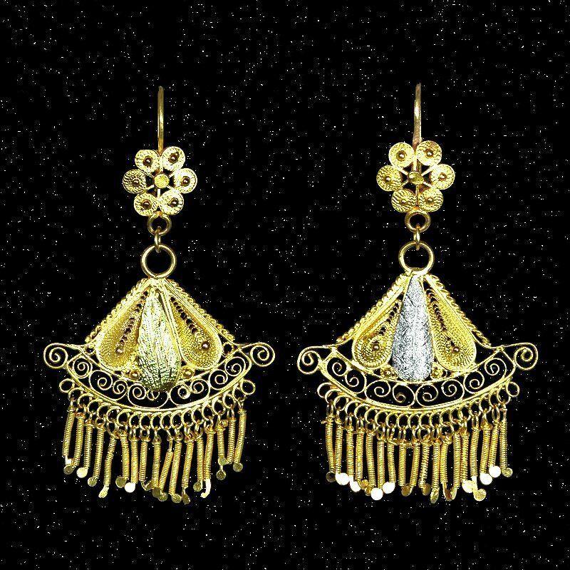 SALE!  Unique antique gold filigree handmade Frida dangle earrings M-F