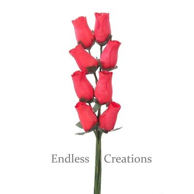 100 Red Wooden Roses - Colour No.1 - Artificial Flowers - Valentines (Red Wooden Roses)