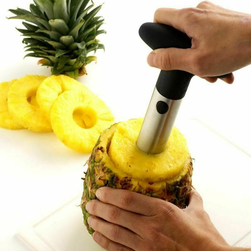Premium Stainless Steel Fruit  Kitchen Pineapple Corer Slicer Cutter Peeler