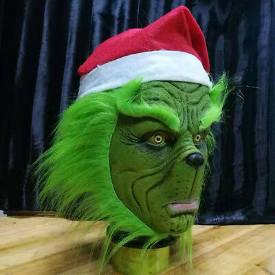 The Grinch Halloween Costume (Grinch Cosplay Mask Xmas Hat Costume Helmet How the Grinch Stole Halloween Mask)