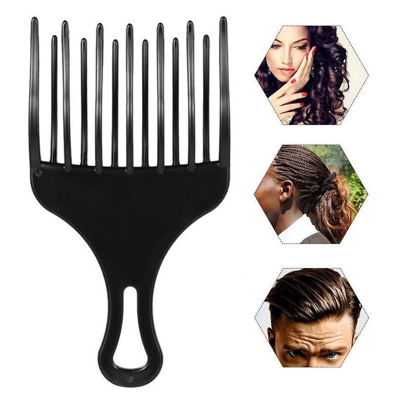 Insert Hair Pick Comb Afro Wide Comb Teeth Fork Brush For Cu