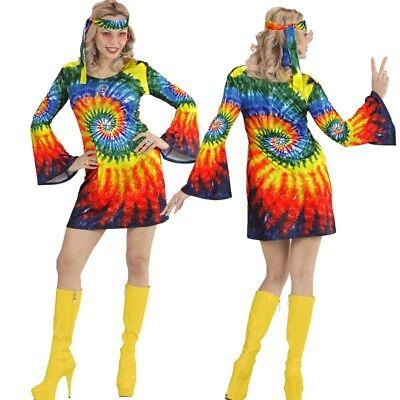 HIPPIE GIRL 60er 70er Damen Kostüm Flower Power Groovy Psychedelic Batik (60er Hippie Girl Kostüm)