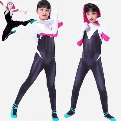 Girls Kids Cosplay Gwen Venom Spider man Costume Fancy Dress Zentai Jumpsuit
