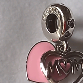 Pandora silver charm mum love you dangle charm 925 silver ale clear to see. box and gift bag