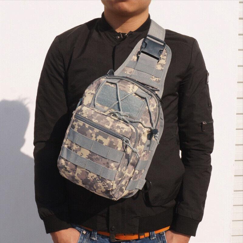 Men Backpack Molle Tactical Sling Chest Pack Shoulder Bag Outdoor Hiking Travel 9