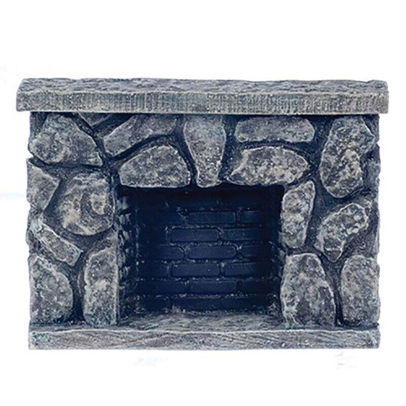 Dollhouse Miniature Dark Gray Fieldstone Fireplace